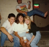 Ahh...the college days. Didn't have a clue who the crotch grabber was back there, either.