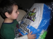 Justin and his Buzz Lightyear punching bag